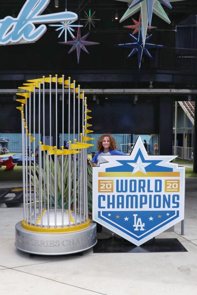 2020 World Champions photo opp at the new Centerfield Plaza at Dodger Stadium
