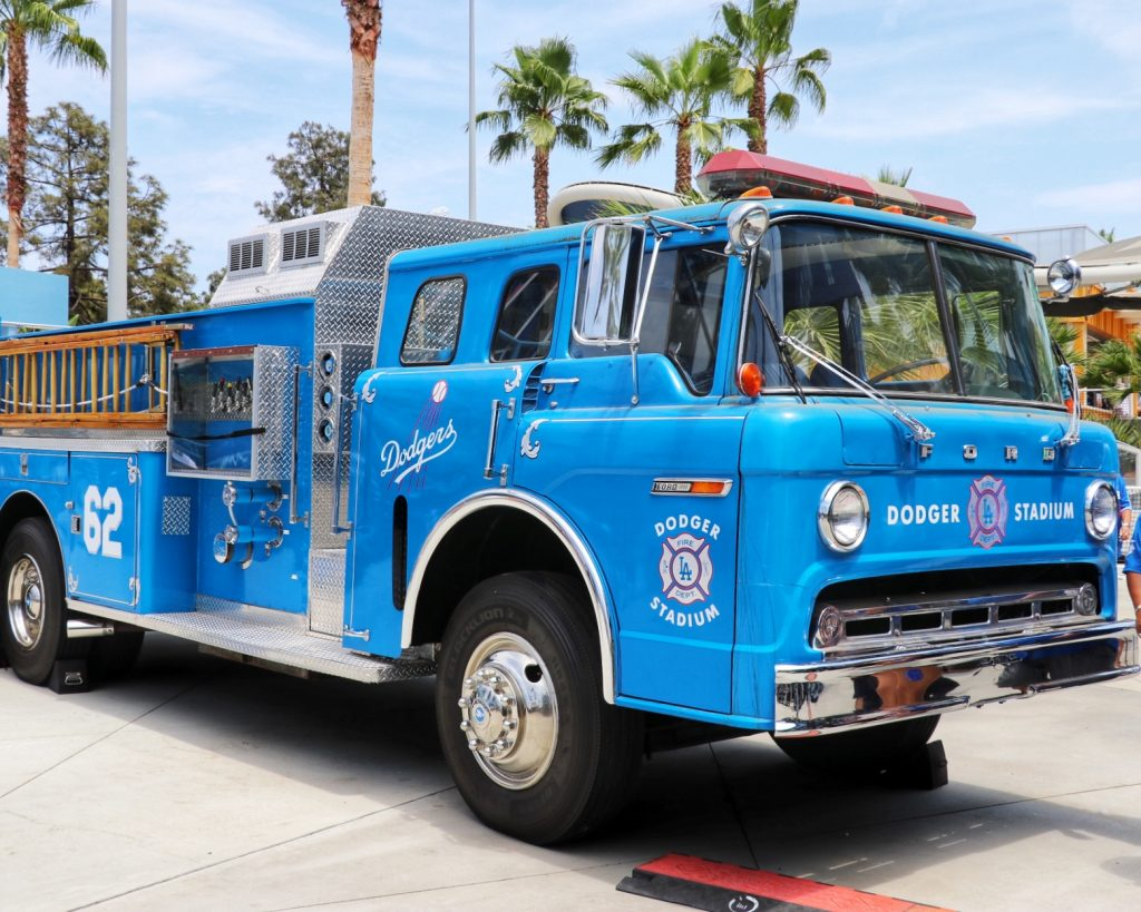 Dodger blue firetruck at Dodger Stadium Centerfield Plaza (Visiting Los Angeles for a Dodgers Game)