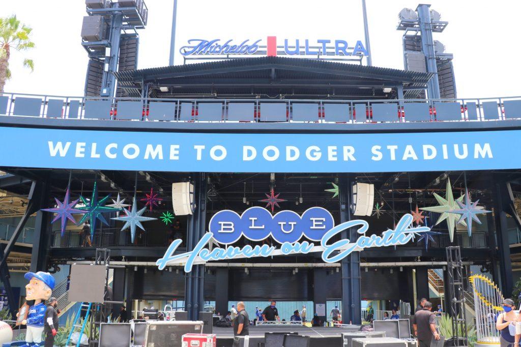 The new Centerfield Plaza at Dodger Stadium