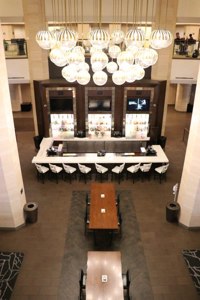 Best hotel near Angel Stadium: Hilton Anaheim. Overhead view of MIX Lounge.