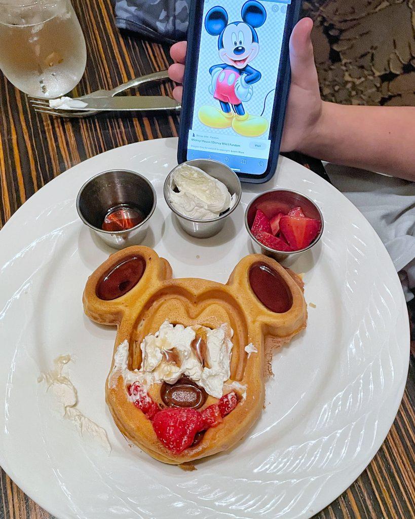 Mickey-inspired waffles at Hilton Anaheim's MIX Restaurant