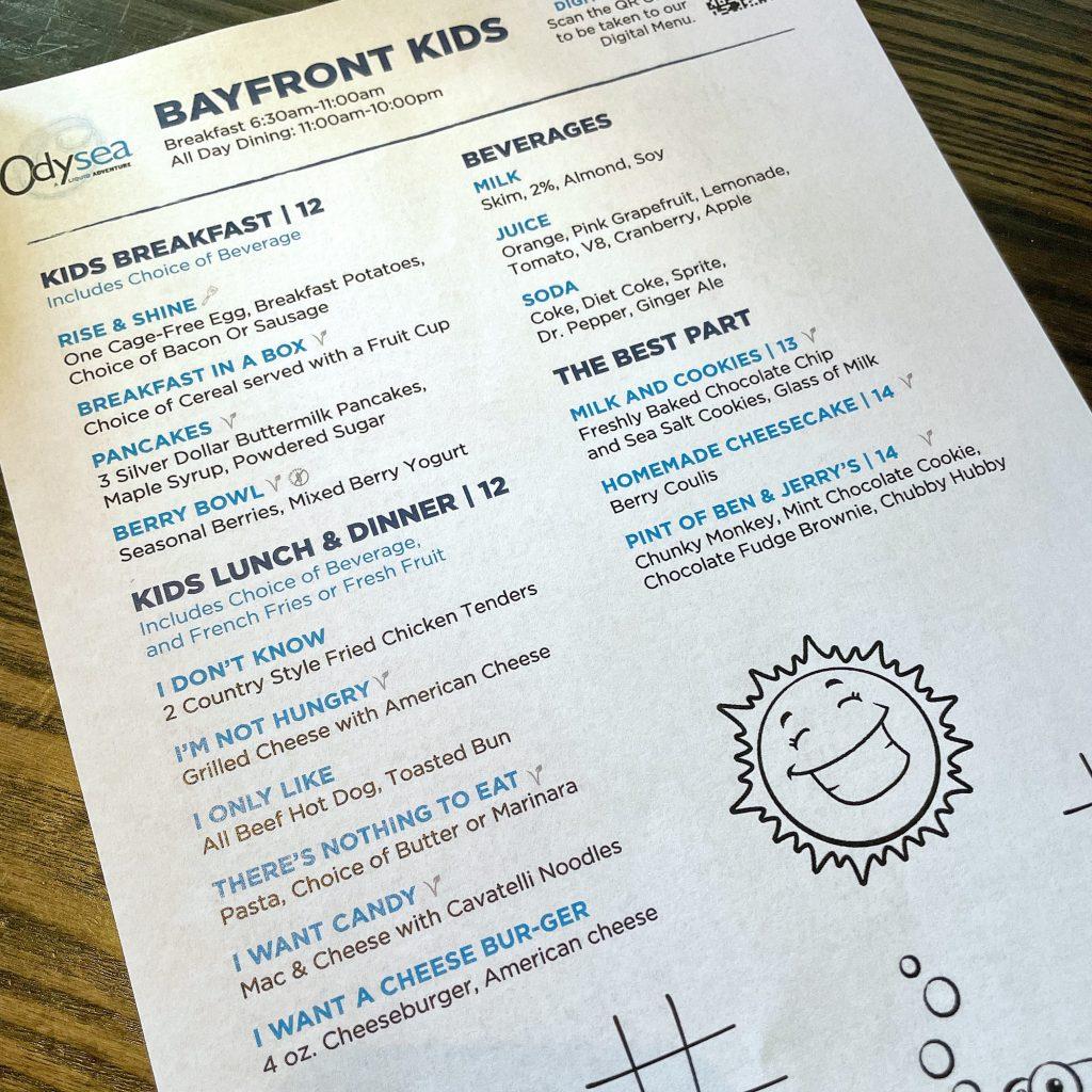 Kid's menu at Hilton San Diego Bayfront Odysea Restaurant