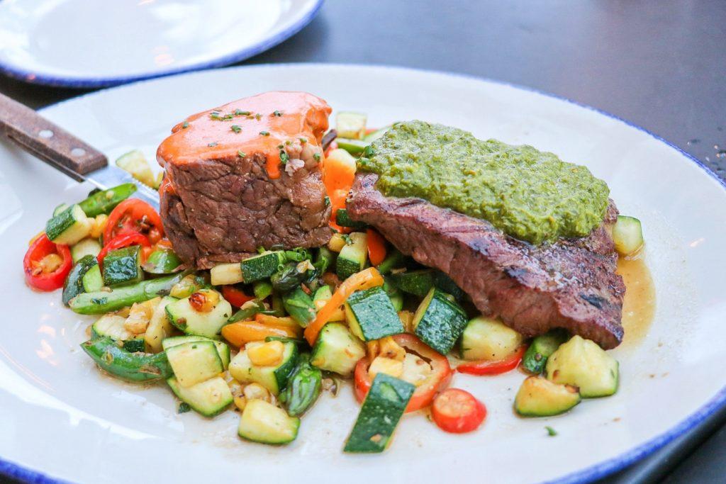 Beef Duo at Beachside restaurant at Jamaica Bay Inn in Marina del Rey