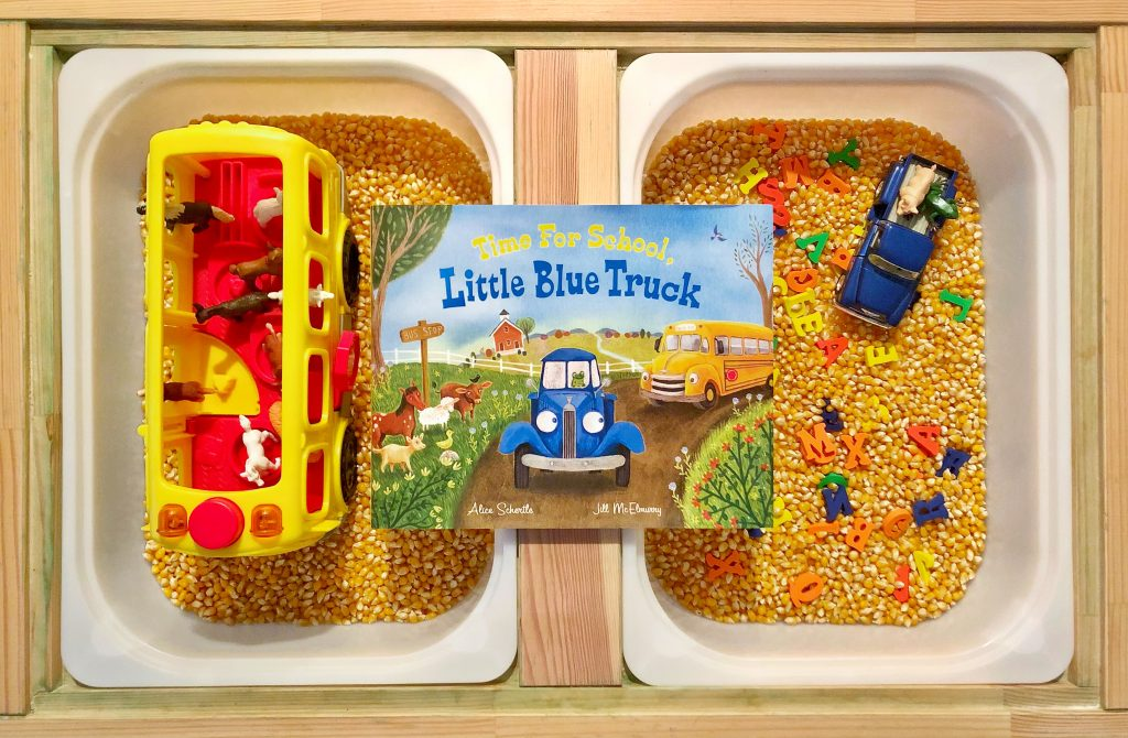 back to school sensory bin (DIY sensory table ideas)