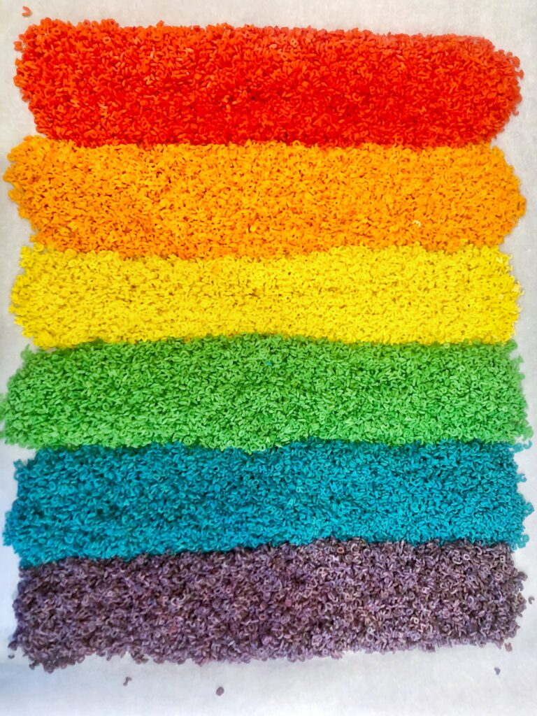 how to color rice and how to color pasta for sensory table base