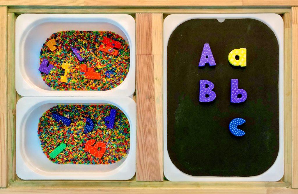 alphabet sensory bins toddler