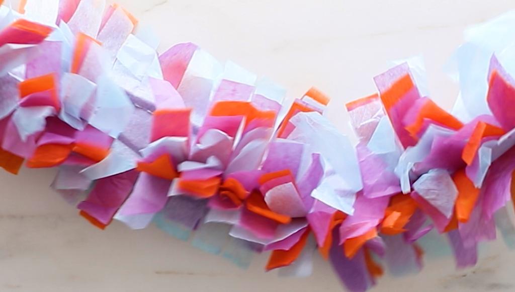 DIY Tissue Paper Fringe Garland (how to make tissue paper garland)