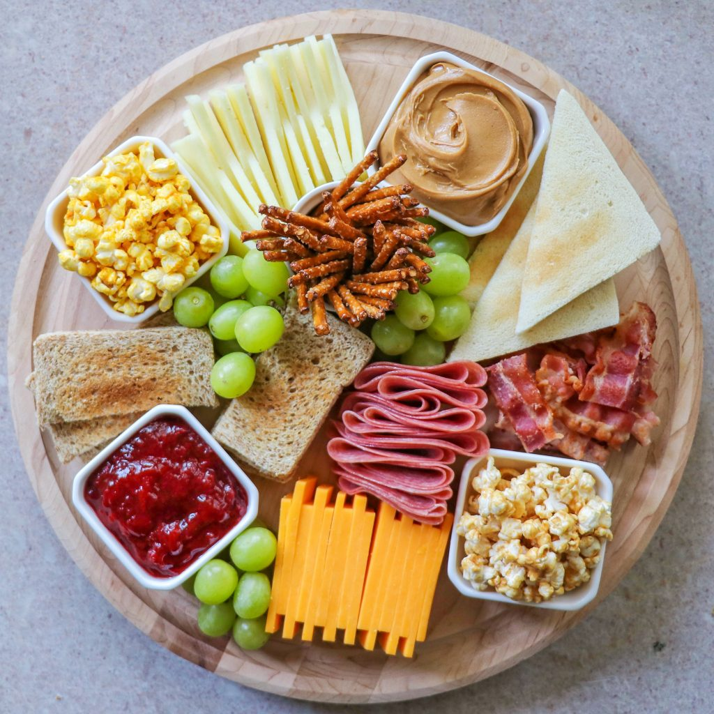 kids charcuterie board ideas: lunch charcuterie themed around peanut butter and jelly