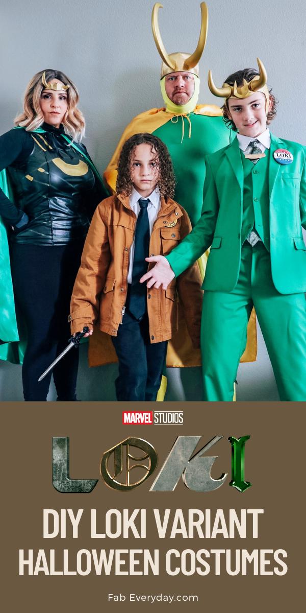 DIY Loki costume ideas for Halloween (Sylvie, TVA Loki, President Loki, and Classic Loki variant cosplay)